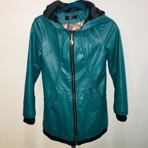 XDR Turquoise hooded leather jacket womens S